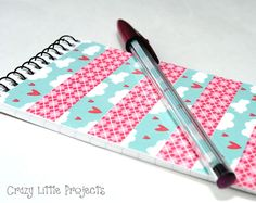 Washi tape notebook and matching washi tape pens. cute!