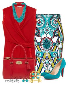 """""""Turquoise Print Skirt and Red Blouse"""" by imclaudia-1 ❤ liked on Polyvore"""