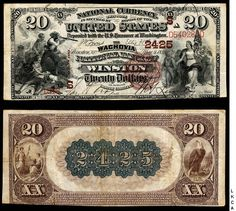 An 1882 twenty dollar bill from the Wachovia National Bank of Winston (NC), believed to be one of only four in existence.