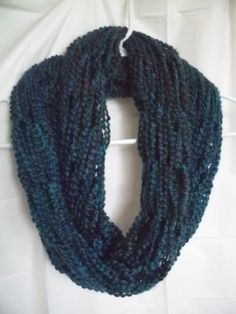 Teal arm knit infinity scarf by GoombaGirlCreations on Etsy, $15.00