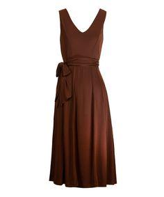 Look what I found on #zulily! Brown Sash V-Neck Dress - Women #zulilyfinds