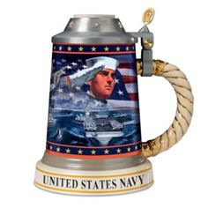 """Stoneware stein with Dennis Lyall art, lyrics from """"Anchors Aweigh,"""" 22K gold accents, metal lid and U.S. Navy emblems."""
