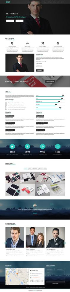 Self is a clean and elegant design bootstrap HTML #template for One Page #Portfolio and #Resume #CV template.…