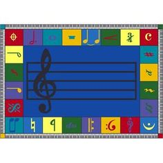 """Note Worthy School Rug - Rectangle - 7' 8""""W x 10' 9""""L at SCHOOLSin...I want this rug for my classroom!!"""