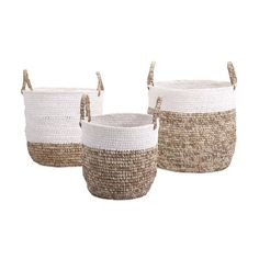 This set of three woven baskets takes weaving to a modern level. Woven with raffia and shoelaces, these baskets sport a unique, fun texture to your home while giving off a classic, elegant look. Utiliz...  Find the Lace-up Woven Baskets - Set of 3, as seen in the Rustic Minimalism In Portugal  Collection at http://dotandbo.com/collections/rustic-minimalism-in-portugal?utm_source=pinterest&utm_medium=organic&db_sku=100207