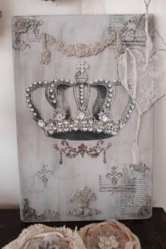 Your place to buy and sell all things handmade Shabby Chic Crafts, Vintage Crafts, Vintage Art, Frame Crafts, Diy Crafts, Crown Pictures, Crown Decor, Iron Orchid Designs, Background Decoration