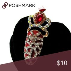 """Red Finger Tip Ring Gorgeous Red and Rhinestone Crown Finger Tip Ring 🔸 Ring Size: 1.5 (remember it's a finger tip ring) 🔸 Measurements: 1.5"""" x 1/2"""" 🔸 Materials: Gold-tone Base Metals, Acrylic, Rhinestones 🔸 Nickel @ Lead Free 🔸 Condition: New Jewelry Rings"""