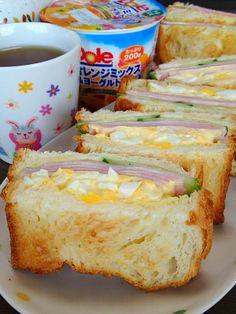 ハムたまごサンドです。基本のフィリングレシピです♪ウチでは少し甘めのパンに挟みます☆