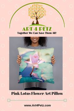 Pink Lotus Flower Art Pillow - Every purchase supports nonprofit rescues. Lotus Flower Art, Lotus Art, Pink Lotus, Cute Baby Bunnies, Cute Babies, Floral Pillows, Cute Dogs And Puppies, Pink Art, Dog Lover Gifts