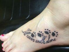 will never walk alone pawprint tattoo foot tattoo
