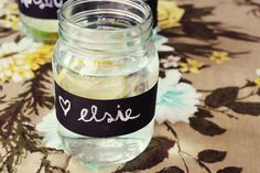 Love this idea for parties! Attach a strip of chalkboard contact paper to mason jars, write your guests names on them, erase when party is over. And you can use them time and time again! Thanks for this, @Elsie Larson!