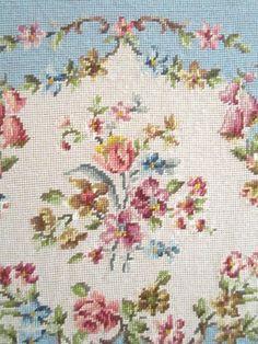 Pair+Needlepoint++framed++roses+powder+blue+by+Vintagewhitecottage,+$78.00