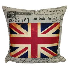 Cotton-blend pillow with script and Union Jack motifs.   Product: PillowConstruction Material: Cotton and polyester