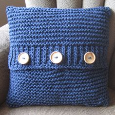 Denim Delight cotton hand knit cushion cover