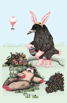 Crow Serie :: Easter Crow Art Print