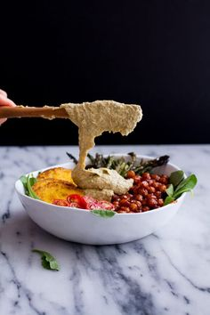 Spicy BBQ Chickpea and Crispy Polenta Bowls with Asparagus + Ranch Hummus | halfbakedharvest.com