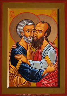 Orthodox christian icon painting by Georgian artist Tamara Rigishvili. St Peter And Paul, Christian Images, Byzantine Icons, Day Book, Religious Icons, Orthodox Icons, Sacred Art, Ikon, Art Projects