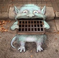 "Trains, Teddy Bears and abandoned places ""tauchner: ""David Zinn "" Cool street art! Murals Street Art, 3d Street Art, Amazing Street Art, Street Art Graffiti, Street Artists, Amazing Art, Berlin Graffiti, Graffiti Artists, David Zinn"