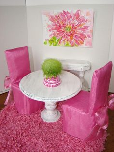 Dining Room Set with Sideboard Table  Rug for Fashion Dolls