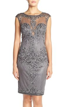 Sue Wong Lace Sheath Dress available at Sue Wong, Lace Sheath Dress, Illusion Neckline, Nordstrom Dresses, Dress Me Up, What To Wear, Elegant, Formal Dresses, Womens Fashion