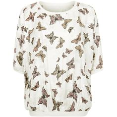 Apricot White Butterfly Print Oversized Top (€13) ❤ liked on Polyvore featuring tops, butterfly top, oversized tops, oversized white top, white top and butterfly print top