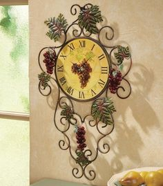 3D Vineyard Metal Kitchen Grape Vine Wall Clock Decor Art Vintage