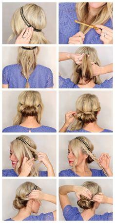 étapes à suivre pour faire une coiffure facile aux cheveux attachés à l'aide d'un bandeau noir