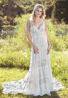 Chantilly lace and chiffon wedding gown with criss-cross straps | Lillian West 6491 | http://trib.al/hCrBA6g