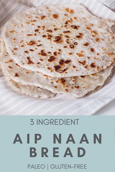 Paleo Naan (AIP, Gluten-free) - Rooted In Healing - This fluffy autoimmune paleo bread naan recipe is delicious, gluten-free, easy, great for sandwich - Pan Paleo, Paleo Autoinmune, Paleo Naan, Dieta Paleo, Gluten Free Recipes, Diet Recipes, Snack Recipes, Cooking Recipes, Cooking Tips