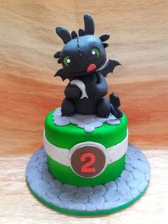 Baby Toothless cake for his 2nd monthly birthday