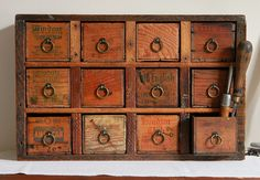 Multi Drawer Apothecary Cabinet or Desk Organizer from Repurposed Vintage Cheese Boxes
