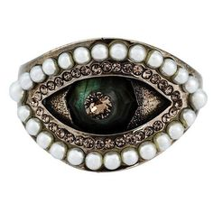 Alexander McQueen eye ring ($380) ❤ liked on Polyvore featuring jewelry, rings, metallic, alexander mcqueen ring, metallic jewelry, alexander mcqueen and alexander mcqueen jewelry