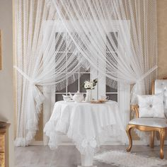 Elart Double-breasted Tulle Curtain Crown Mahal Off White Canopy Curtains, Home Curtains, Modern Curtains, Sheer Curtains, Mosquito Curtains, Home Decor Bedroom, Living Room Decor, Luxury Home Accessories, Custom Drapes