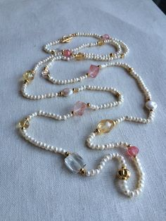 Freshwater Pearl, Citrine, and Strawberry Quartz Lariat Necklace