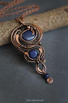 Lapis lazuli necklace wirewrap pendant wire by LenaSinelnikArt