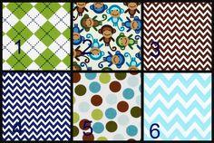 Crib Bedding, Baby Boy Crib Bedding, Adjustable crib skirt, Rail covers with snaps, Monkey Crib Set, Blue Brown Green Crib Bedding, Safari