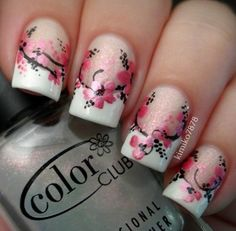 These flowers are gorgeous! #CherryBlossoms #NailArt #Manicure #FrenchManicure