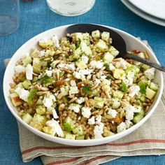 Israeli Couscous and Apple Salad is seasoned with crumbled feta, toasted pine nuts, and fresh mint. #dinnerrecipes