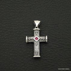 UNIQUE RUBY CZ BYZANTINE STYLE 925 STERLING SILVER GREEK HANDMADE ART CROSS #IreneGreekJewelry #Pendant