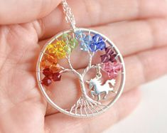 Unicorn Necklace, Rainbow Unicorn Necklace, Magical Jewelry, Rainbow Tree of Life Pendant, Unicorn Gift, Birthday Gift for Women, Magic