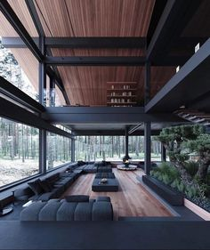 Discovered by Zoé. Find images and videos about home, design and interior on We Heart It - the app to get lost in what you love. Black Interior Design, Dream House Interior, Room Interior, Design Hotel, House In The Woods, Modern House Design, Interior Architecture, Contemporary Architecture, Amazing Architecture