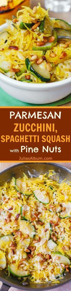 Parmesan Zucchini, Spaghetti Squash, with toasted pine nuts. Delicious, healthy, gluten free, vegetarian!