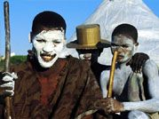 Young Xhosa men during their traditional initiation into manhood.