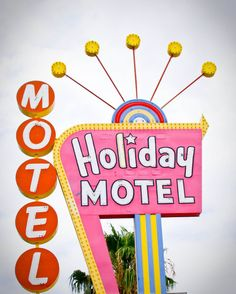 Fine Art Photography Las Vegas Vintage Motel sign Googie pink yellow red