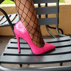 Stiletto Heels, High Heels, Shoes Heels, Patent Leather Pumps, Color Pop, Heeled Boots, Hot Pink, Footwear, Arches