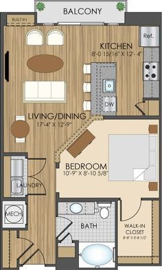 Floor Plans Of Hidden Creek Apartments In 750 sf–would be nice floor plan for a little house. Floor Plans Of Hidden Creek Apartments In 750 sf–would be nice floor plan for a little house. The Plan, How To Plan, Apartment Layout, Apartment Plans, Bedroom Apartment, Studio Apartment Floor Plans, Apartment Living, Bedroom Wall, Bedroom Decor