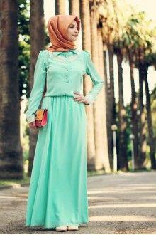 Dantel Detay Elbise - Mint