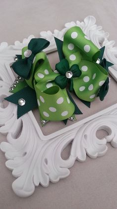 Green & White Polka Dot Studded Clover Stacked Hair Bow by Knotjuststring, $14.00