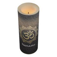 YOGA Meditation Instructor Black & Gold OM Mandala Flameless Candle