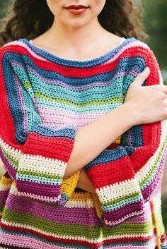 Ravelry: Project Gallery for Rainbow Jumper pattern by Ali Campbell Crochet Jumper, Crochet Jacket, Knit Crochet, Jumper Patterns, Knitting Patterns, Crochet Patterns, Style Grunge, Grunge Look, 90s Grunge